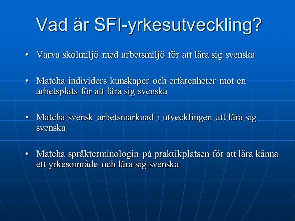 Vad är SFI-yrkesutveckling? Varva skolmiljö med arbetsmiljö för att lära sig svenskaVarva skolmiljö med arbetsmiljö för att lära sig svenska Matcha in