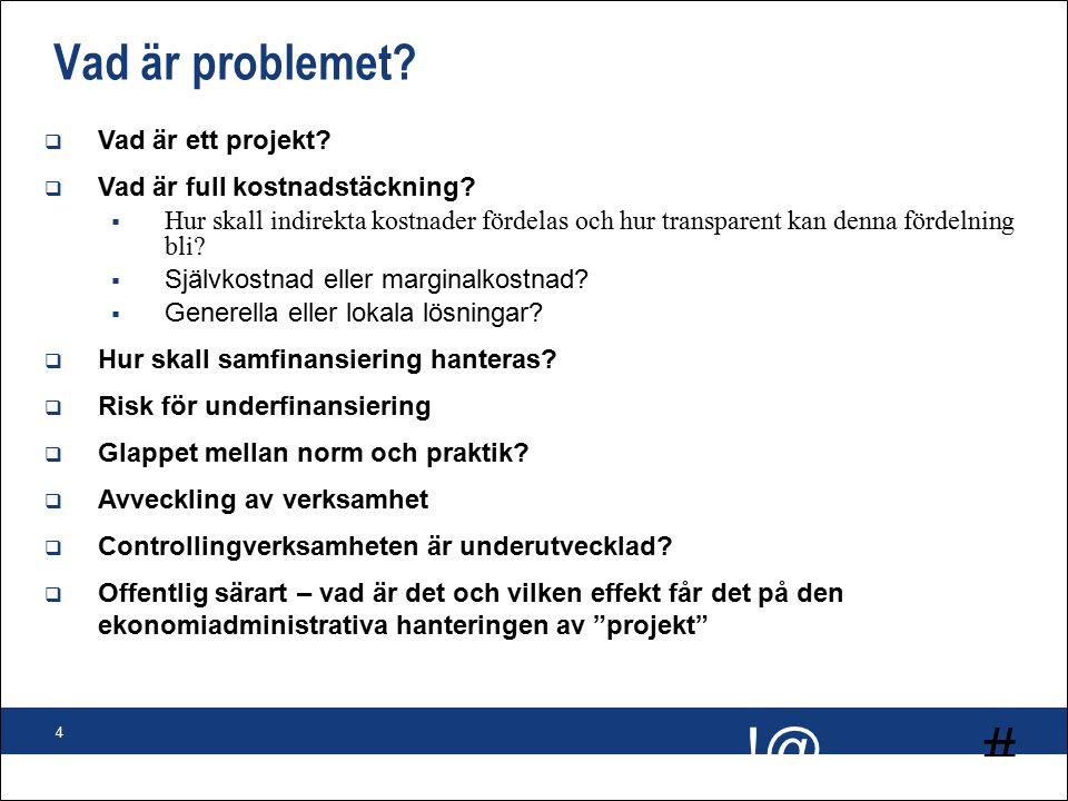 # !@ 4 Vad är problemet.  Vad är ett projekt.  Vad är full kostnadstäckning.