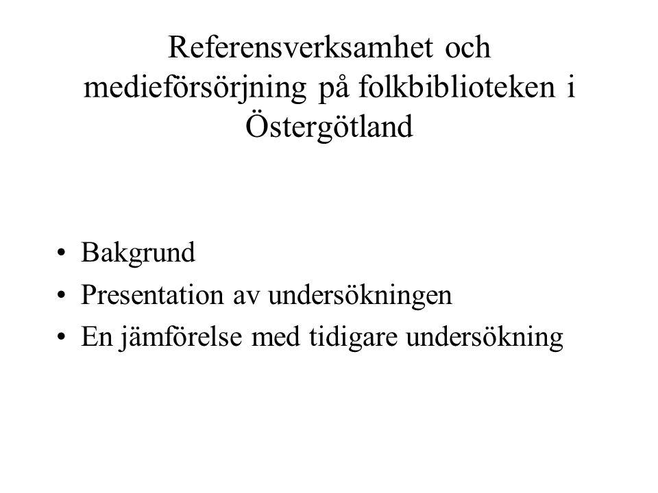 Referensverksamhet och medieförsörjning på folkbiblioteken i Östergötland Bakgrund Presentation av undersökningen En jämförelse med tidigare undersökning