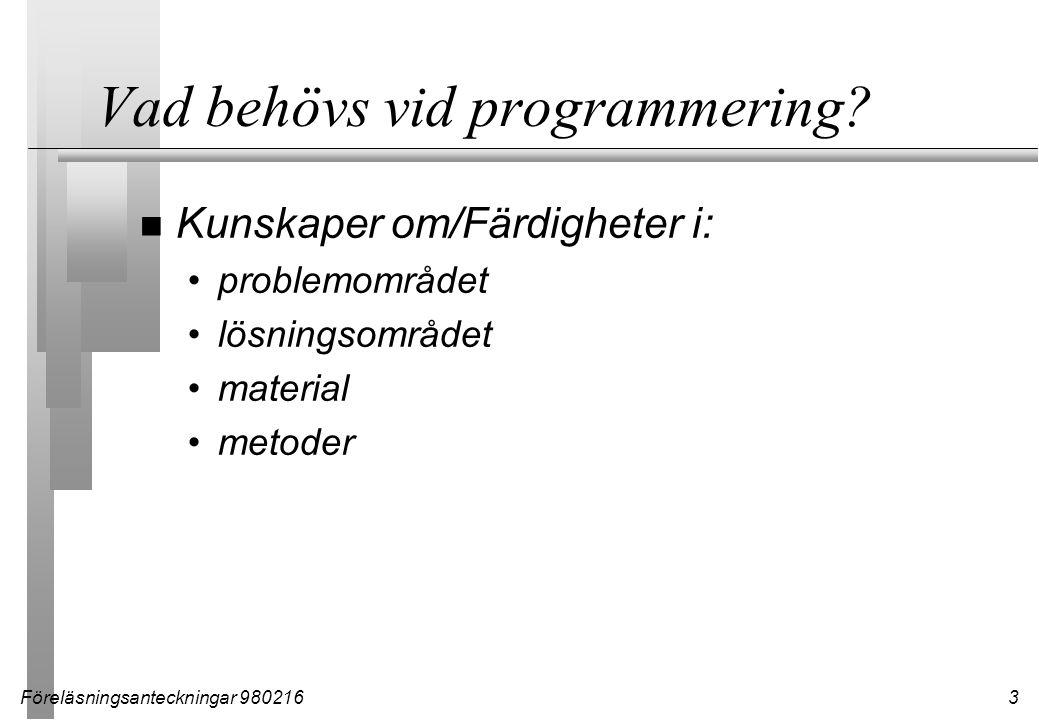 Föreläsningsanteckningar 9802163 Vad behövs vid programmering.