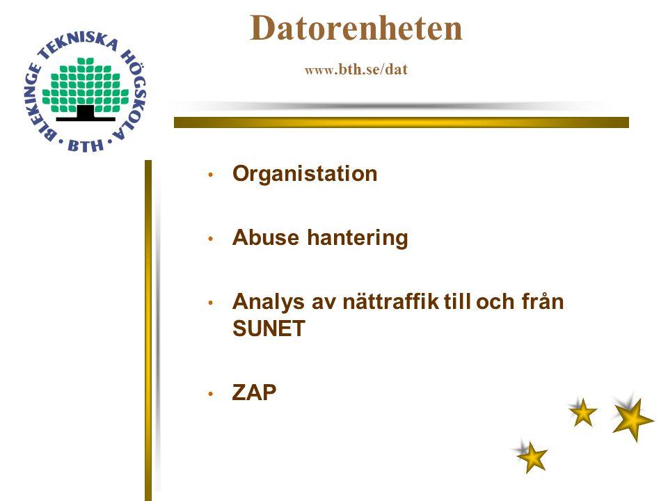 Datorenheten www.bth.se/dat Organistation Abuse hantering Analys av nättraffik till och från SUNET ZAP