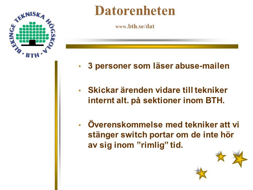 Datorenheten www.bth.se/dat Studentnäten hanterar sin egen abuse Svarar som regel inom 1-2 timmar 1-2 ärenden i veckan.