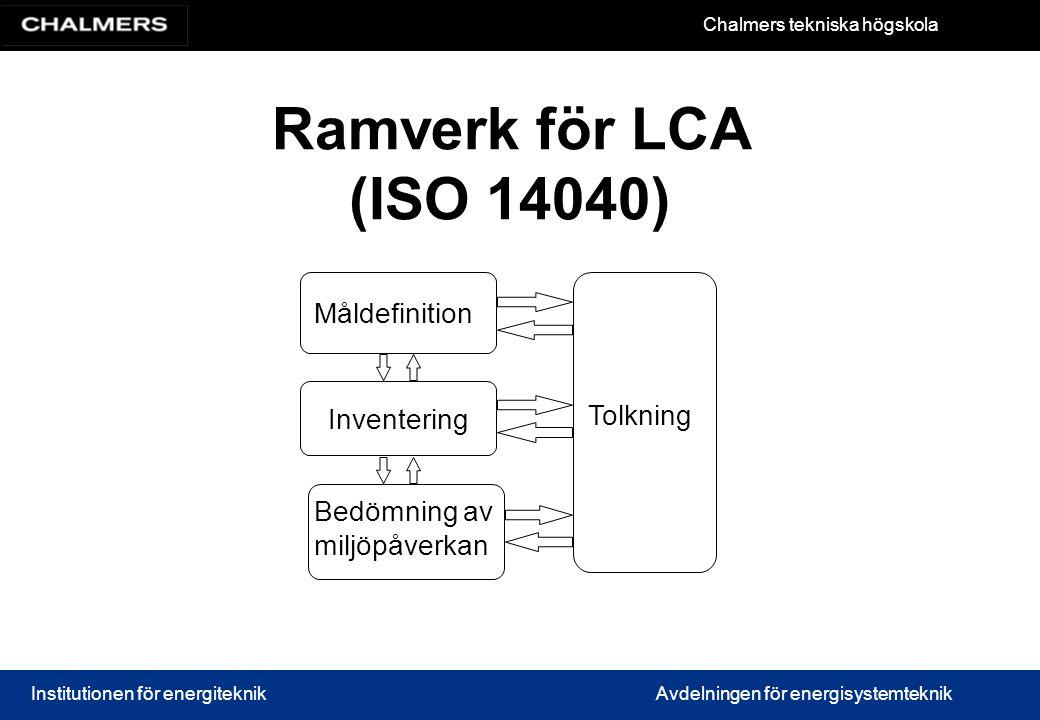 Chalmers tekniska högskola Institutionen för energiteknikAvdelningen för energisystemteknik Ramverk för LCA (ISO 14040) Måldefinition Inventering Bedömning av miljöpåverkan Tolkning