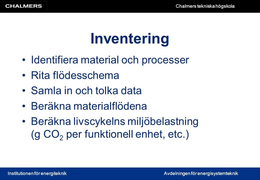 Chalmers tekniska högskola Institutionen för energiteknikAvdelningen för energisystemteknik Inventering Identifiera material och processer Rita flödes