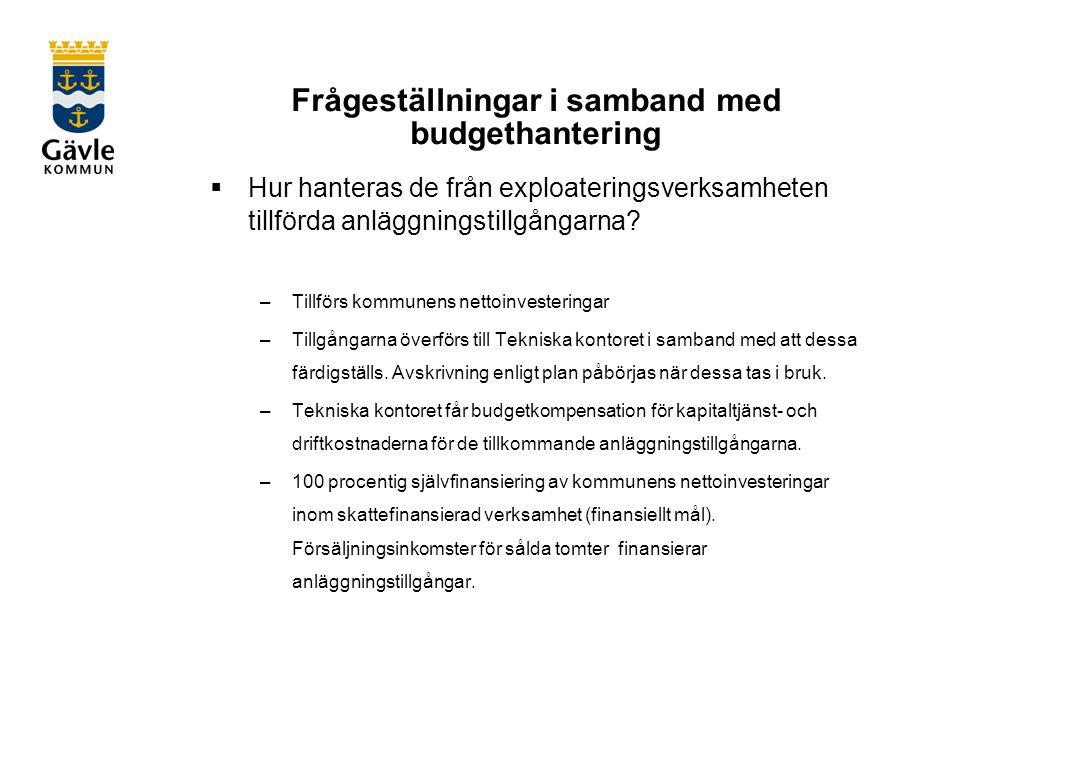 Frågeställningar i samband med budgethantering  Hur hanteras de från exploateringsverksamheten tillförda anläggningstillgångarna.
