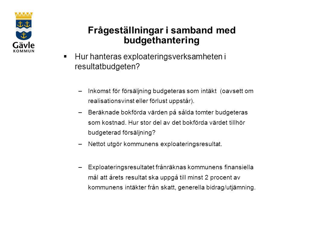 Frågeställningar i samband med budgethantering  Hur hanteras exploateringsverksamheten i resultatbudgeten.