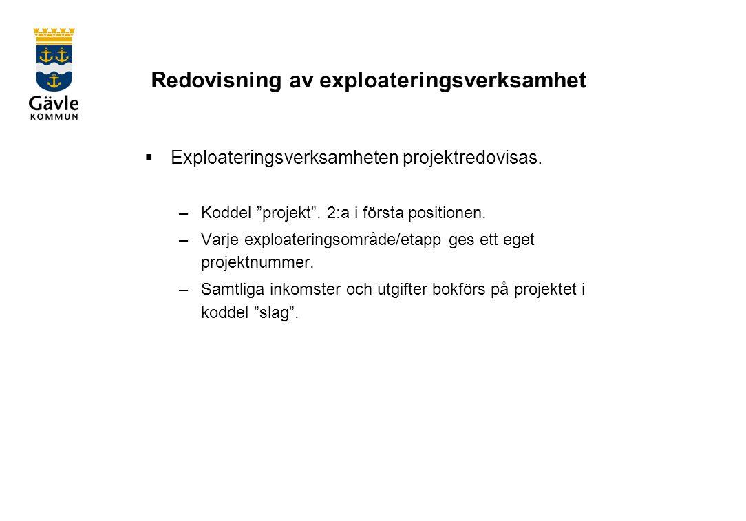Redovisning av exploateringsverksamhet  Exploateringsverksamheten projektredovisas.