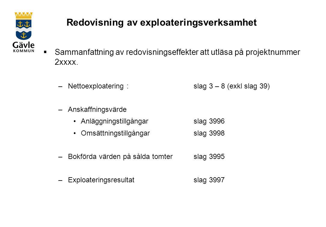 Redovisning av exploateringsverksamhet  Sammanfattning av redovisningseffekter att utläsa på projektnummer 2xxxx.