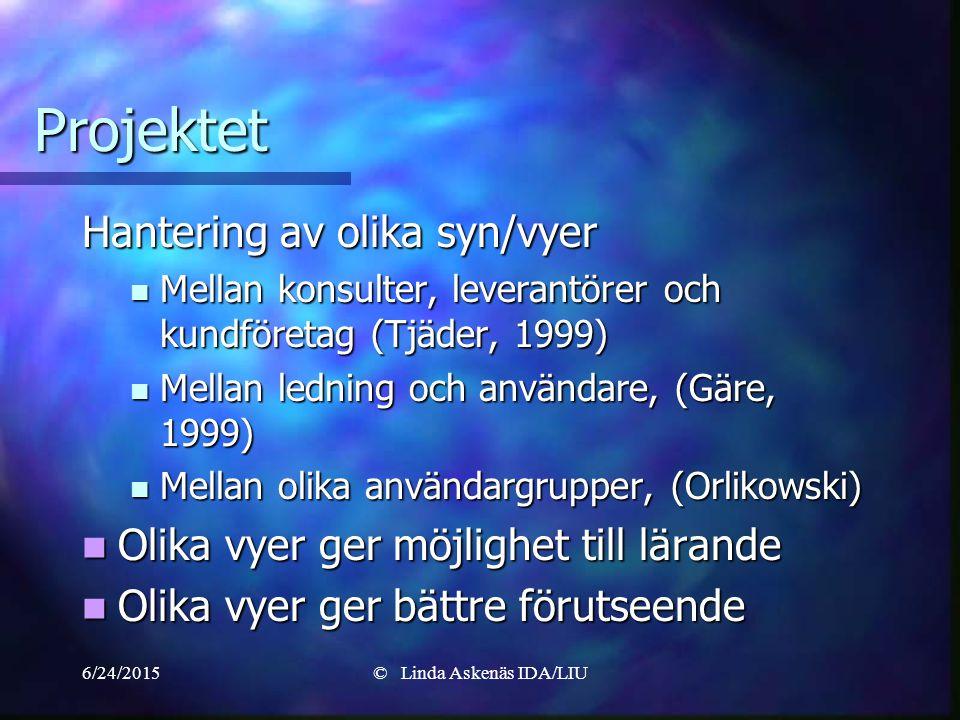 6/24/2015© Linda Askenäs IDA/LIU Projektet Hantering av olika syn/vyer Mellan konsulter, leverantörer och kundföretag (Tjäder, 1999) Mellan konsulter, leverantörer och kundföretag (Tjäder, 1999) Mellan ledning och användare, (Gäre, 1999) Mellan ledning och användare, (Gäre, 1999) Mellan olika användargrupper, (Orlikowski) Mellan olika användargrupper, (Orlikowski) Olika vyer ger möjlighet till lärande Olika vyer ger möjlighet till lärande Olika vyer ger bättre förutseende Olika vyer ger bättre förutseende