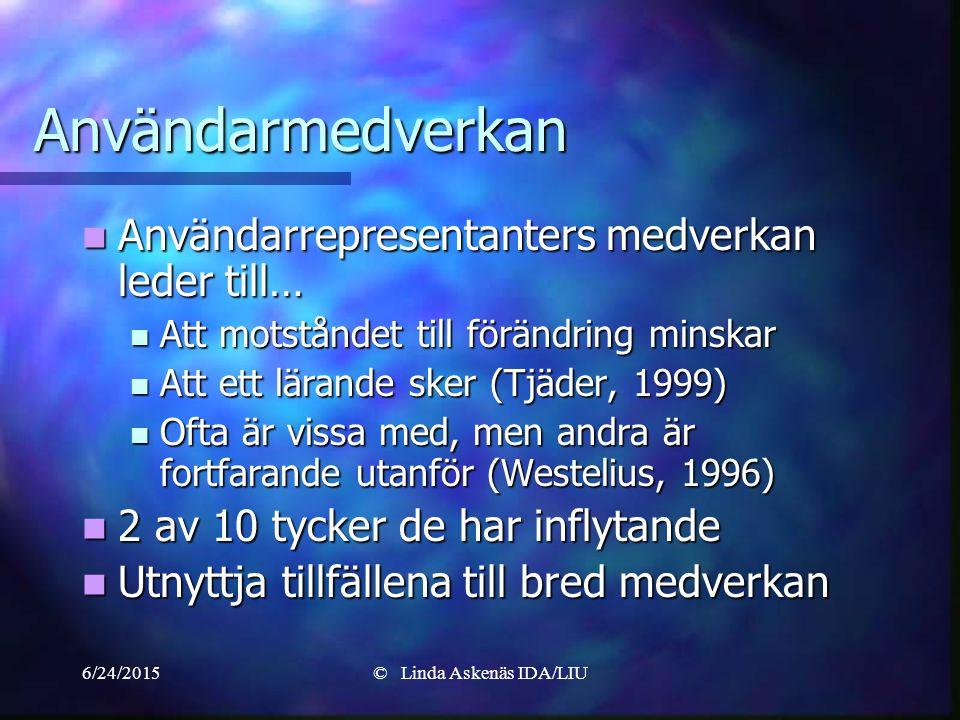 6/24/2015© Linda Askenäs IDA/LIU Användarmedverkan Användarrepresentanters medverkan leder till… Användarrepresentanters medverkan leder till… Att motståndet till förändring minskar Att motståndet till förändring minskar Att ett lärande sker (Tjäder, 1999) Att ett lärande sker (Tjäder, 1999) Ofta är vissa med, men andra är fortfarande utanför (Westelius, 1996) Ofta är vissa med, men andra är fortfarande utanför (Westelius, 1996) 2 av 10 tycker de har inflytande 2 av 10 tycker de har inflytande Utnyttja tillfällena till bred medverkan Utnyttja tillfällena till bred medverkan