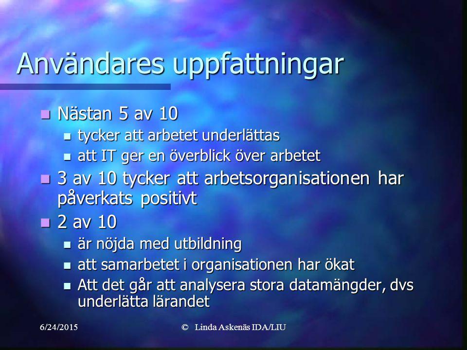 6/24/2015© Linda Askenäs IDA/LIU Användares uppfattningar Nästan 5 av 10 Nästan 5 av 10 tycker att arbetet underlättas tycker att arbetet underlättas att IT ger en överblick över arbetet att IT ger en överblick över arbetet 3 av 10 tycker att arbetsorganisationen har påverkats positivt 3 av 10 tycker att arbetsorganisationen har påverkats positivt 2 av 10 2 av 10 är nöjda med utbildning är nöjda med utbildning att samarbetet i organisationen har ökat att samarbetet i organisationen har ökat Att det går att analysera stora datamängder, dvs underlätta lärandet Att det går att analysera stora datamängder, dvs underlätta lärandet