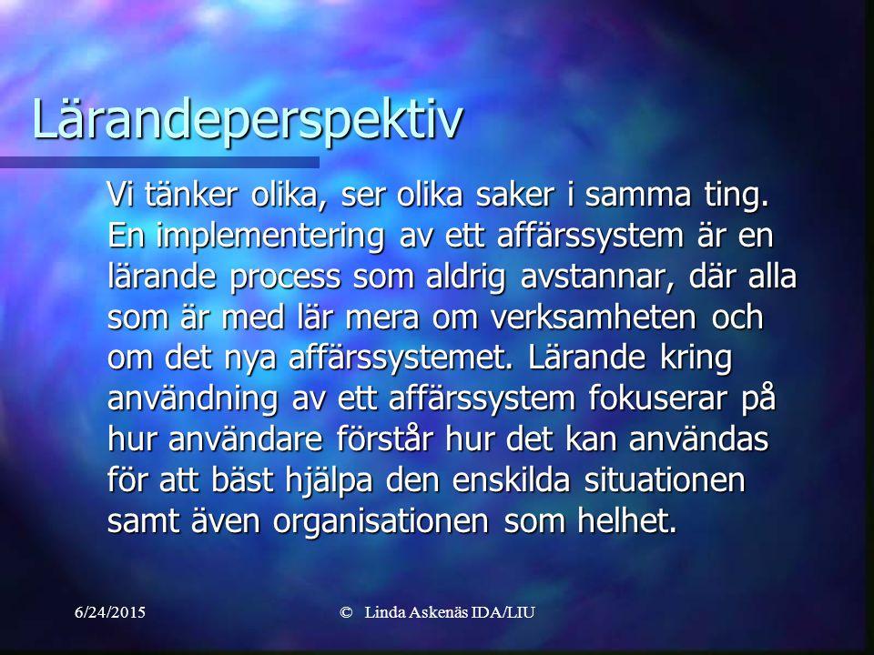 6/24/2015© Linda Askenäs IDA/LIU Lärandeperspektiv Vi tänker olika, ser olika saker i samma ting.