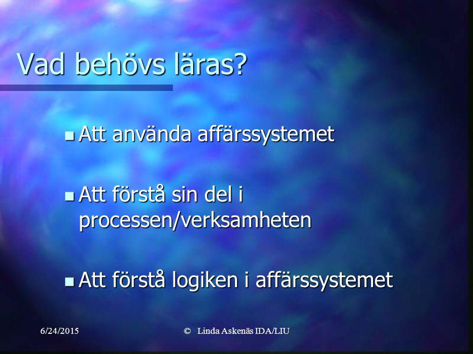 6/24/2015© Linda Askenäs IDA/LIU Vad behövs läras.