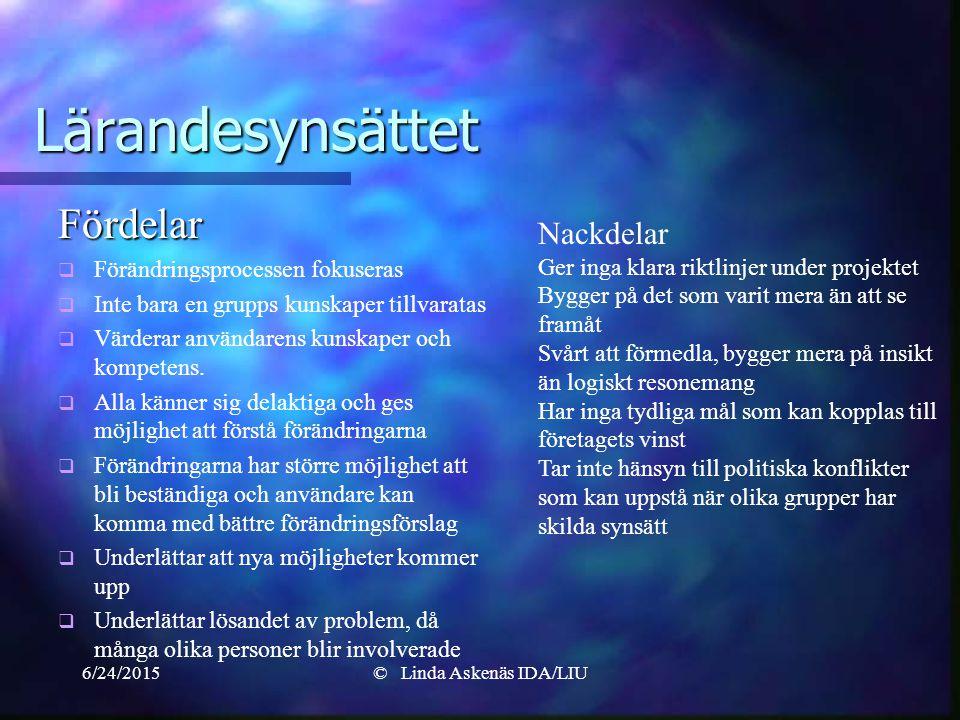 6/24/2015© Linda Askenäs IDA/LIU Lärandesynsättet Fördelar   Förändringsprocessen fokuseras   Inte bara en grupps kunskaper tillvaratas   Värderar användarens kunskaper och kompetens.