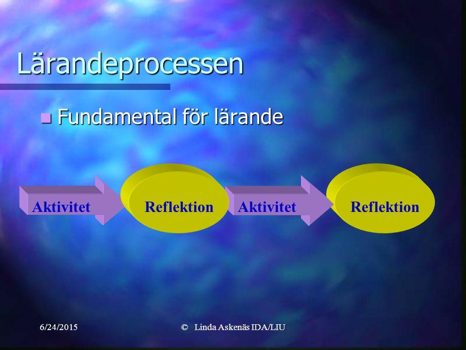 6/24/2015© Linda Askenäs IDA/LIU Reflektion Aktivitet Lärandeprocessen Fundamental för lärande Fundamental för lärande Reflektion