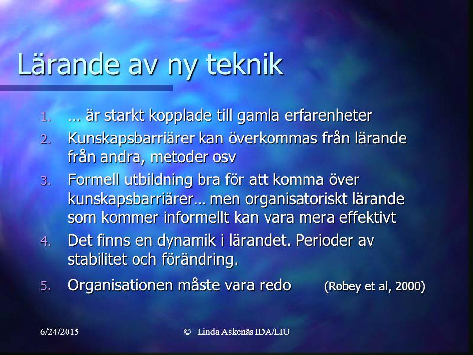 6/24/2015© Linda Askenäs IDA/LIU Lärande av ny teknik 1.