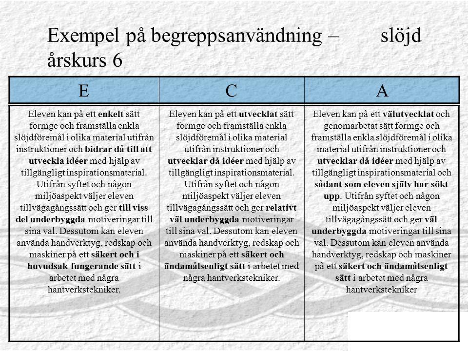 Exempel på begreppsanvändning – slöjd årskurs 6 Eleven kan på ett enkelt sätt formge och framställa enkla slöjdföremål i olika material utifrån instru