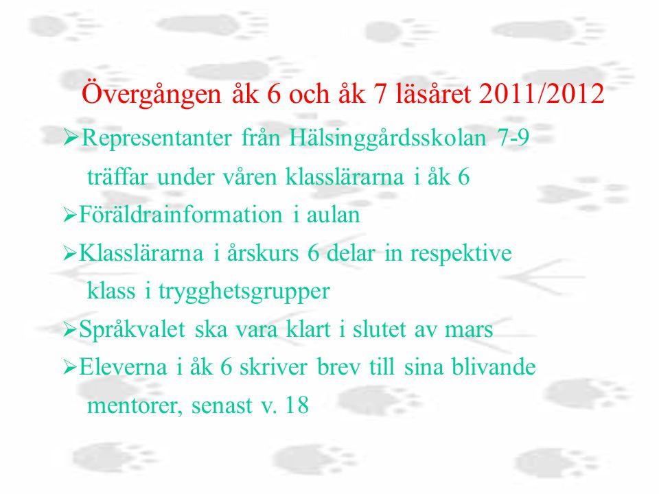 Övergången åk 6 och åk 7 läsåret 2011/2012  Representanter från Hälsinggårdsskolan 7-9 träffar under våren klasslärarna i åk 6  Föräldrainformation