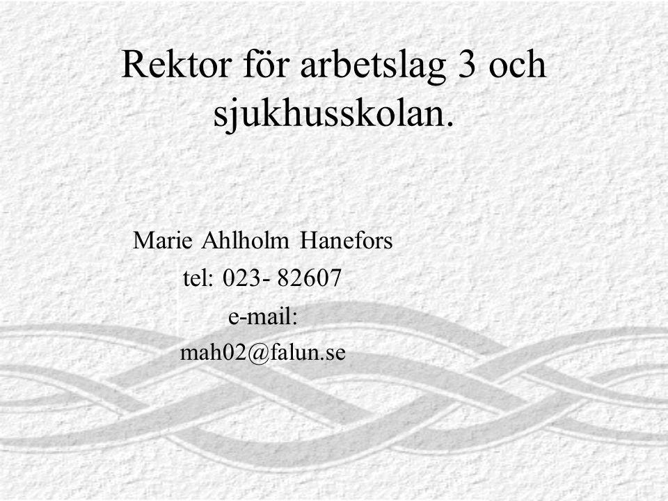 Rektor för arbetslag 3 och sjukhusskolan. Marie Ahlholm Hanefors tel: 023- 82607 e-mail: mah02@falun.se