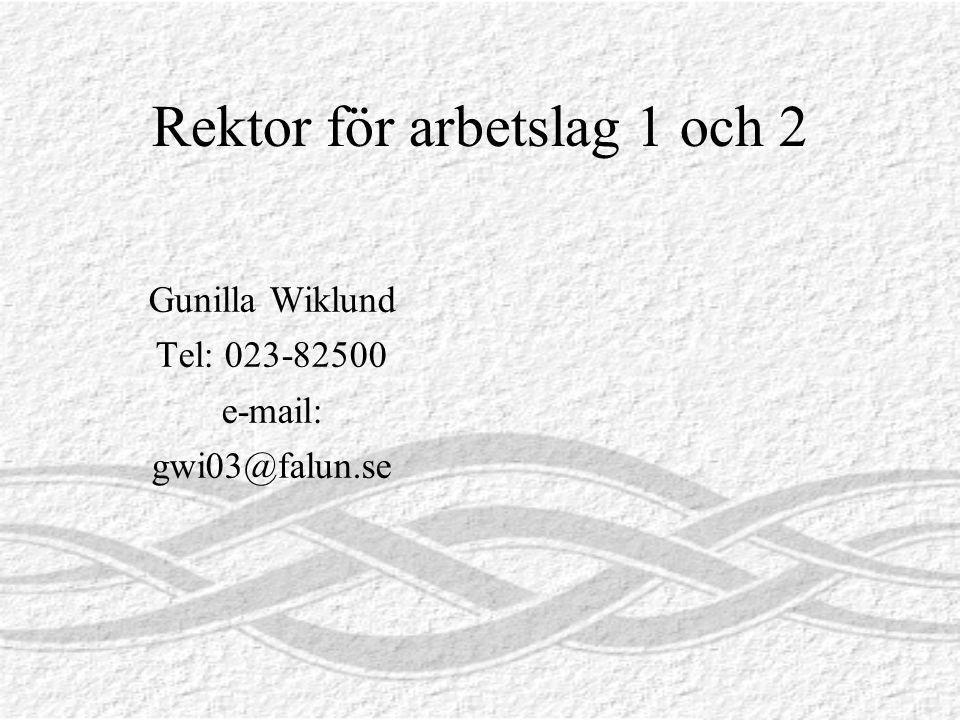 Rektor för arbetslag 1 och 2 Gunilla Wiklund Tel: 023-82500 e-mail: gwi03@falun.se