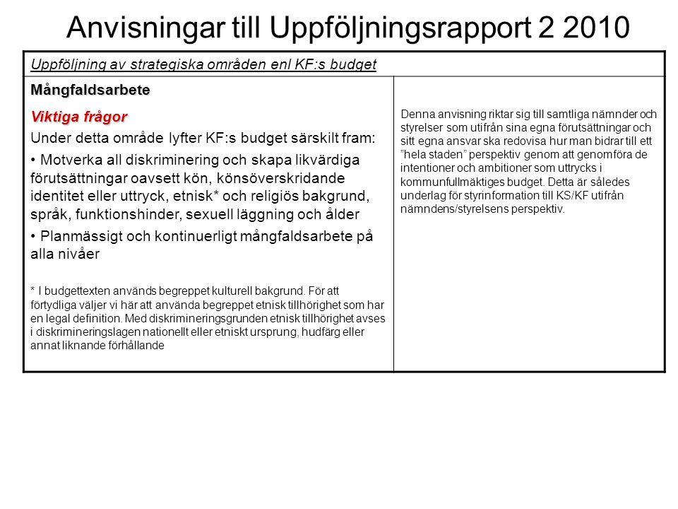 Anvisningar till Uppföljningsrapport 2 2010 Uppföljning av strategiska områden enl KF:s budget Mångfaldsarbete Viktiga frågor Under detta område lyfte
