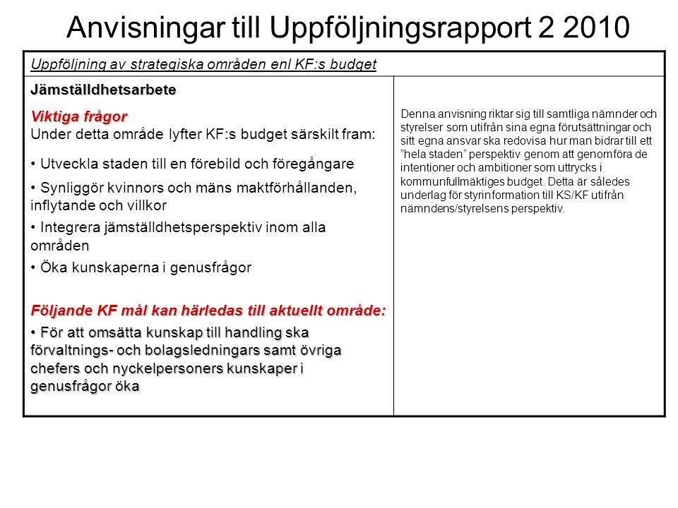 Anvisningar till Uppföljningsrapport 2 2010 Uppföljning av strategiska områden enl KF:s budget Jämställdhetsarbete Viktiga frågor Under detta område l