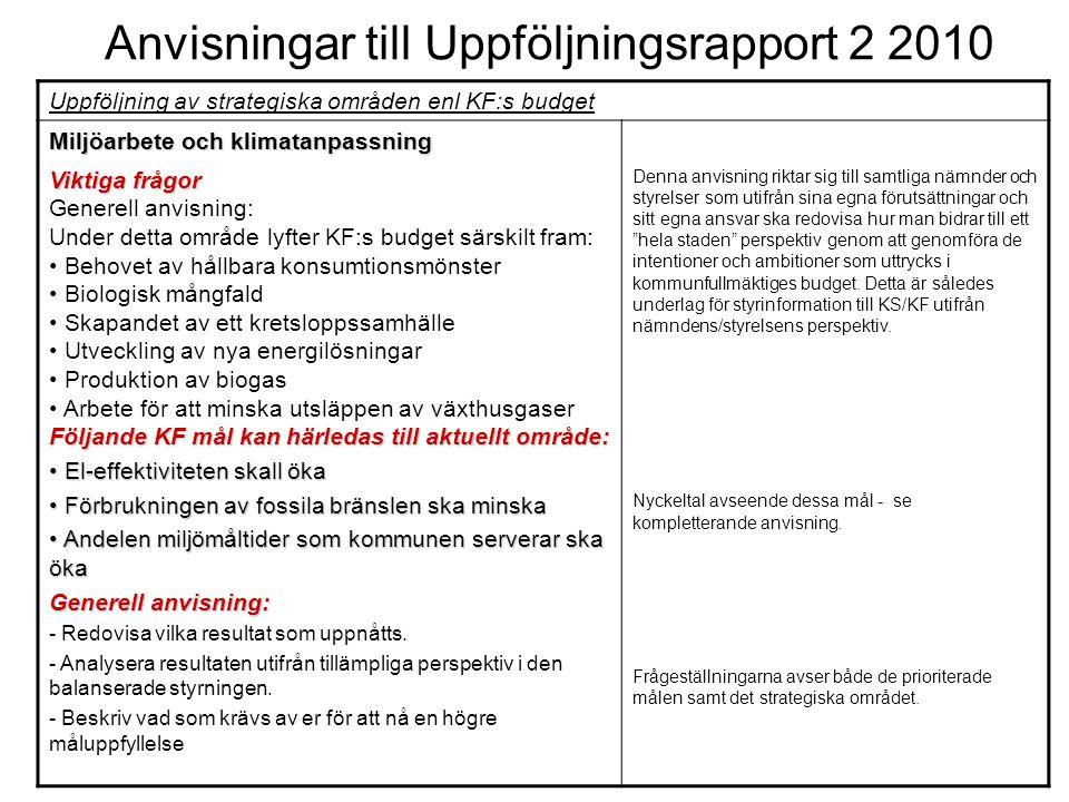 Anvisningar till Uppföljningsrapport 2 2010 Uppföljning av strategiska områden enl KF:s budget Miljöarbete och klimatanpassning Viktiga frågor Generel