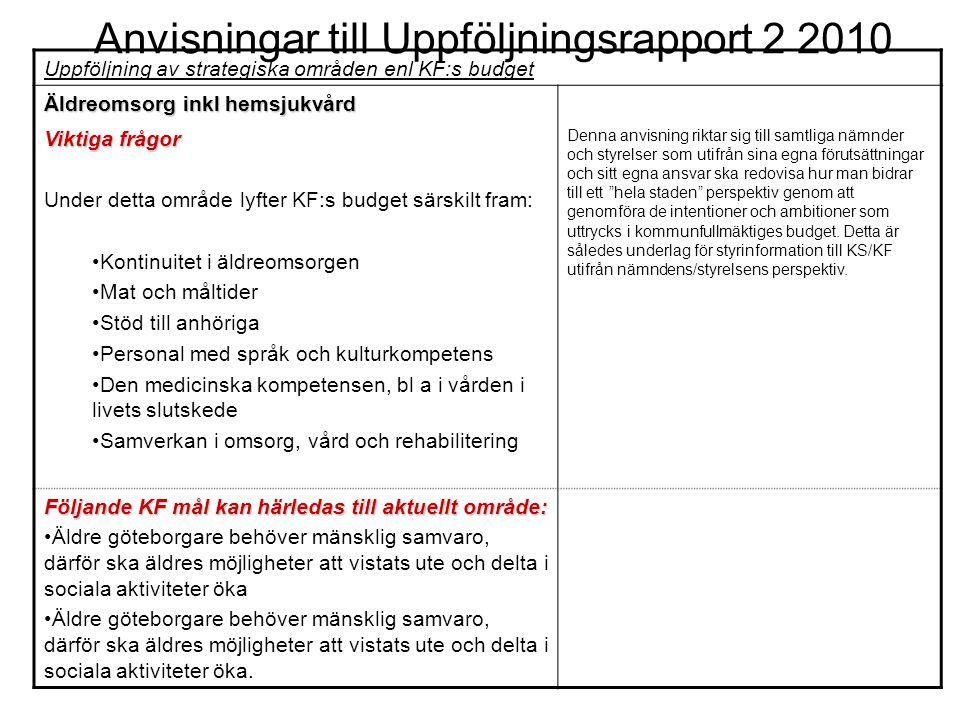 Anvisningar till Uppföljningsrapport 2 2010 Uppföljning av strategiska områden enl KF:s budget Äldreomsorg inkl hemsjukvård Viktiga frågor Under detta