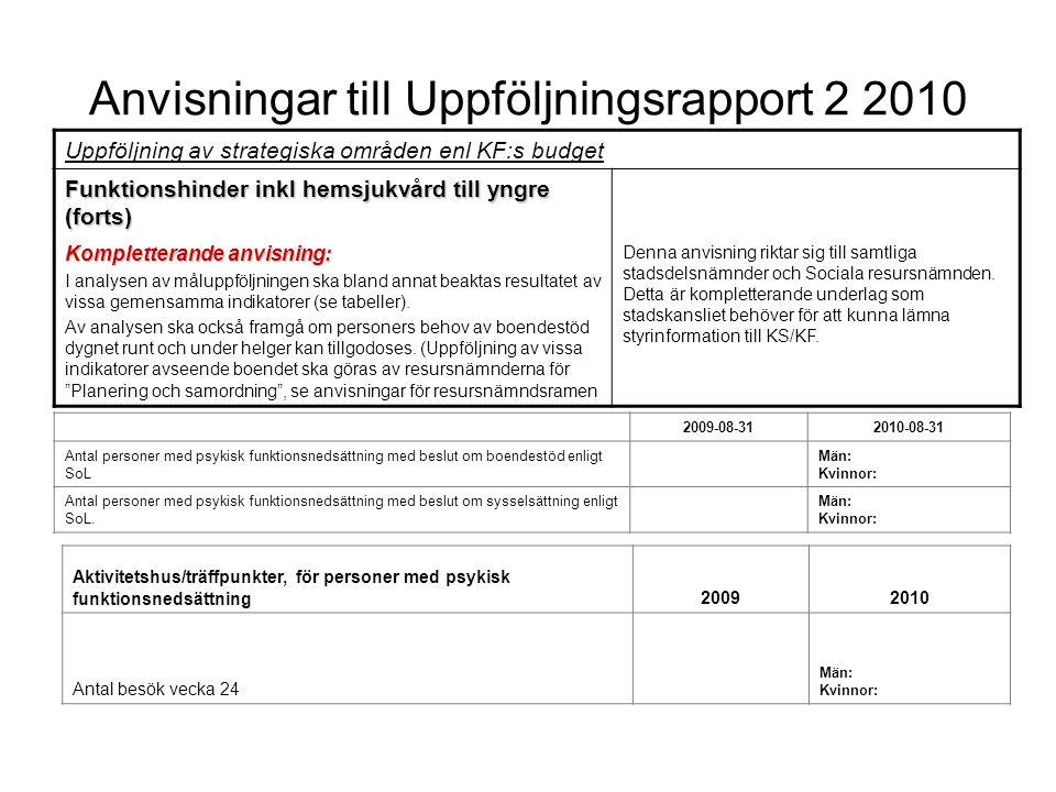 Anvisningar till Uppföljningsrapport 2 2010 Uppföljning av strategiska områden enl KF:s budget Funktionshinder inkl hemsjukvård till yngre (forts) Kom