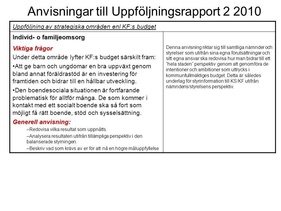 Anvisningar till Uppföljningsrapport 2 2010 Uppföljning av strategiska områden enl KF:s budget Individ- o familjeomsorg Viktiga frågor Under detta omr
