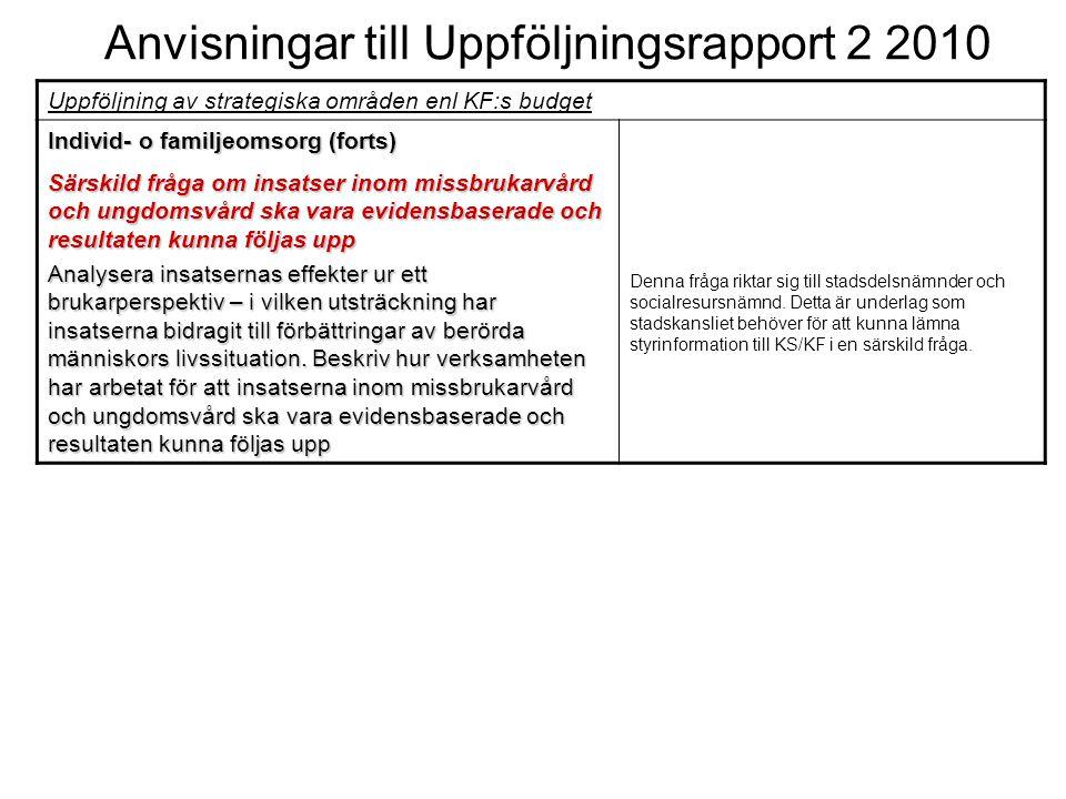 Anvisningar till Uppföljningsrapport 2 2010 Uppföljning av strategiska områden enl KF:s budget Individ- o familjeomsorg (forts) Särskild fråga om insa