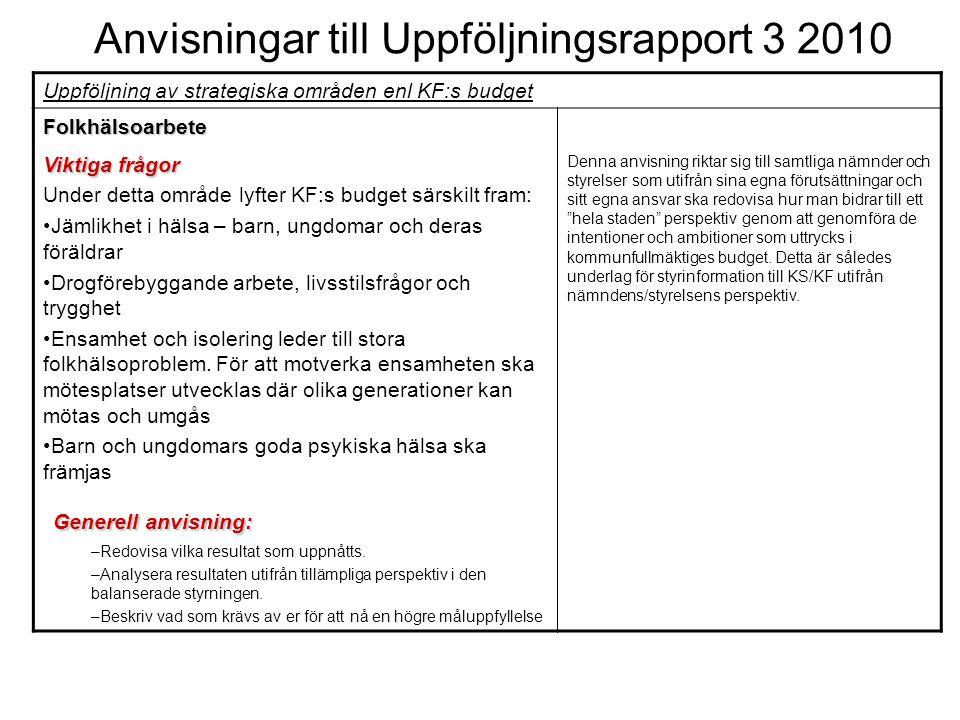 Anvisningar till Uppföljningsrapport 3 2010 Uppföljning av strategiska områden enl KF:s budget Folkhälsoarbete Viktiga frågor Under detta område lyfte