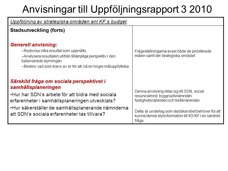 Anvisningar till Uppföljningsrapport 3 2010 Uppföljning av strategiska områden enl KF:s budget Stadsutveckling (forts) Generell anvisning: –Redovisa vilka resultat som uppnåtts.