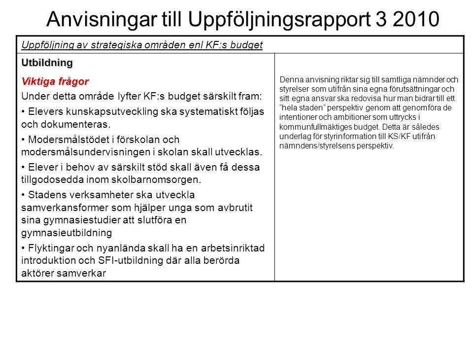 Anvisningar till Uppföljningsrapport 3 2010 Uppföljning av strategiska områden enl KF:s budget Utbildning Viktiga frågor Under detta område lyfter KF:
