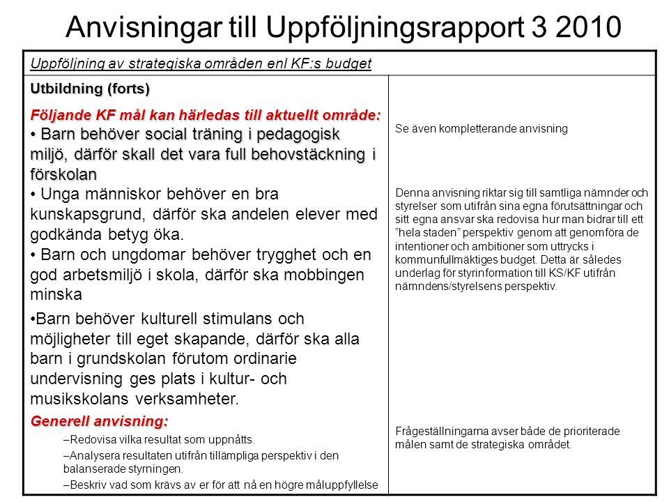 Anvisningar till Uppföljningsrapport 3 2010 Uppföljning av strategiska områden enl KF:s budget Utbildning (forts) Följande KF mål kan härledas till ak