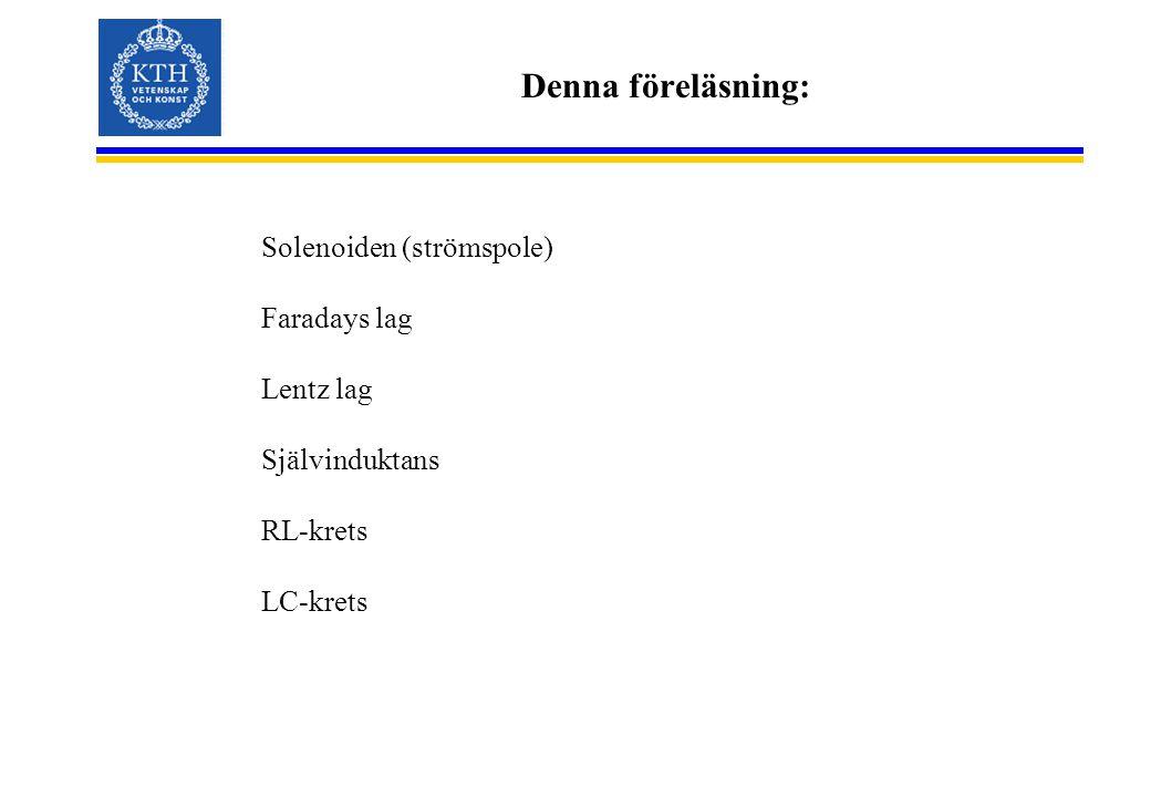Denna föreläsning: Solenoiden (strömspole) Faradays lag Lentz lag Självinduktans RL-krets LC-krets