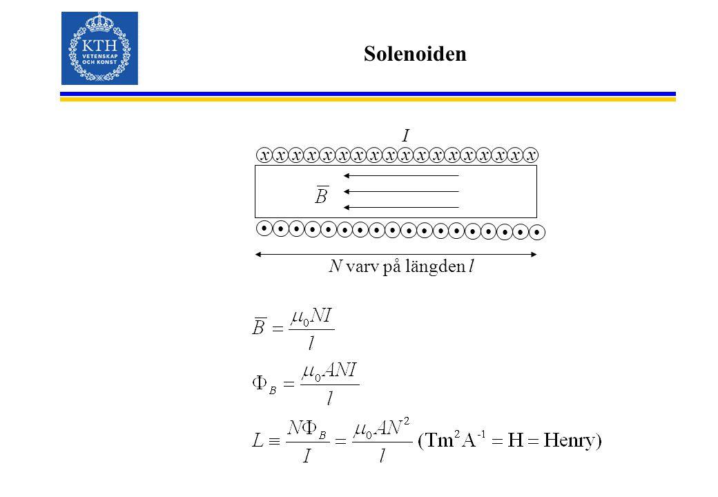Solenoiden xxxxxxxxxxxxxxxxxx I N varv på längden l