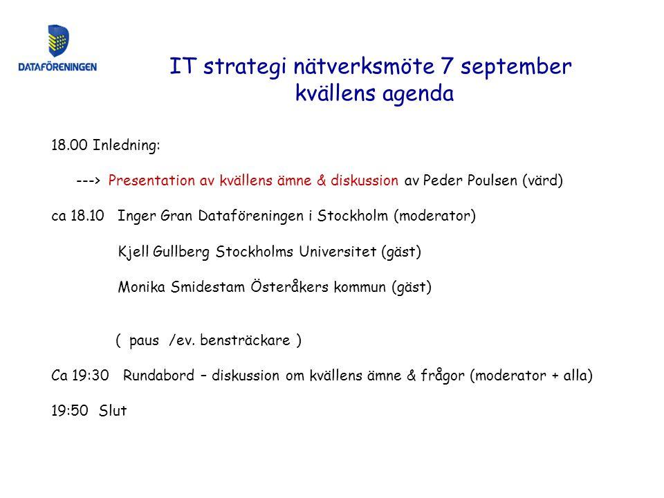 18.00 Inledning: ---> Presentation av kvällens ämne & diskussion av Peder Poulsen (värd) ca 18.10Inger Gran Dataföreningen i Stockholm (moderator) Kje