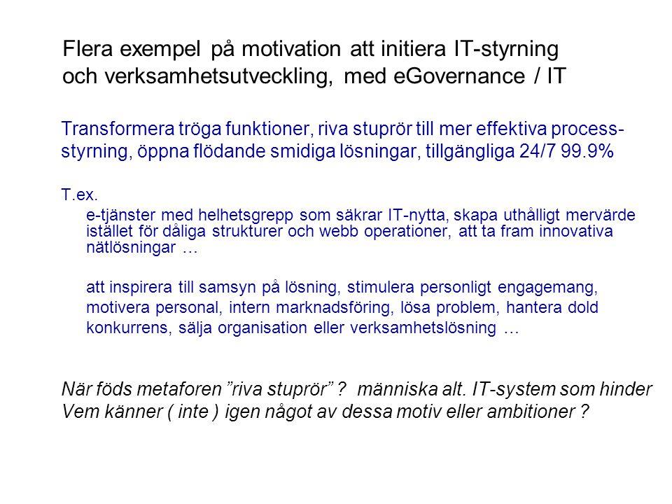 Flera exempel på motivation att initiera IT-styrning och verksamhetsutveckling, med eGovernance / IT Transformera tröga funktioner, riva stuprör till