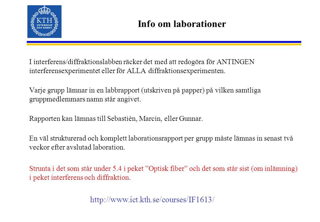Info om laborationer I interferens/diffraktionslabben räcker det med att redogöra för ANTINGEN interferensexperimentet eller för ALLA diffraktionsexperimenten.