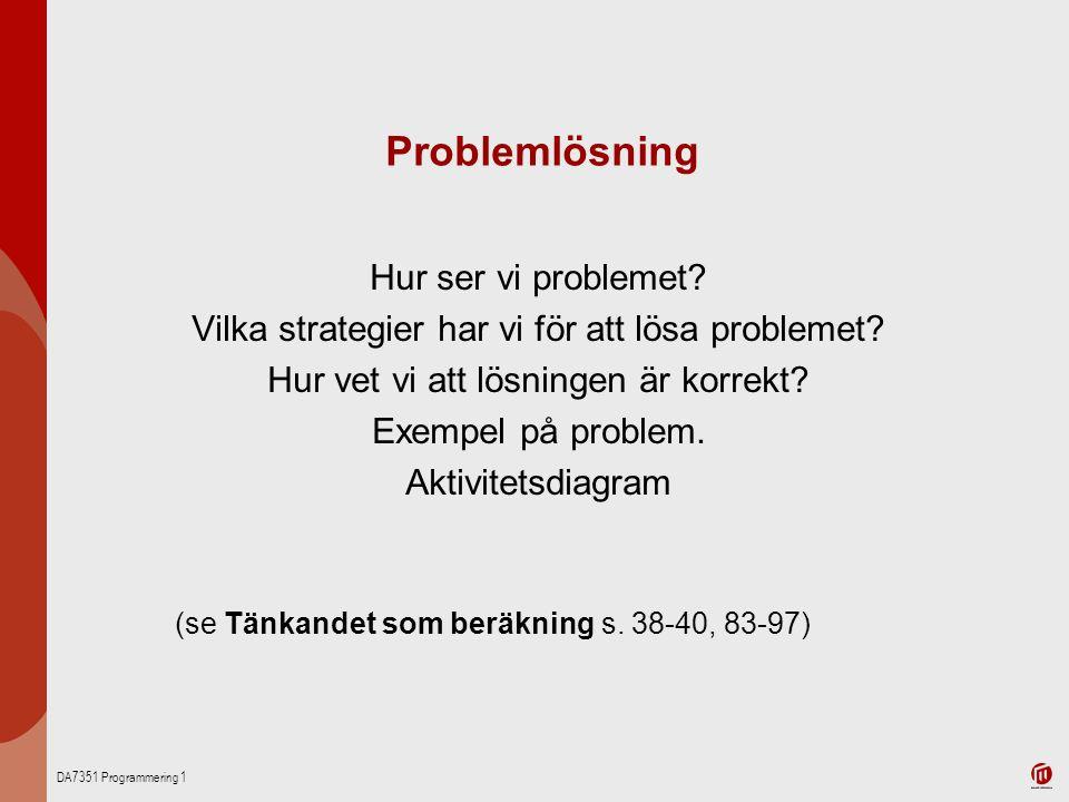 DA7351 Programmering 1 Problemlösning Hur ser vi problemet? Vilka strategier har vi för att lösa problemet? Hur vet vi att lösningen är korrekt? Exemp