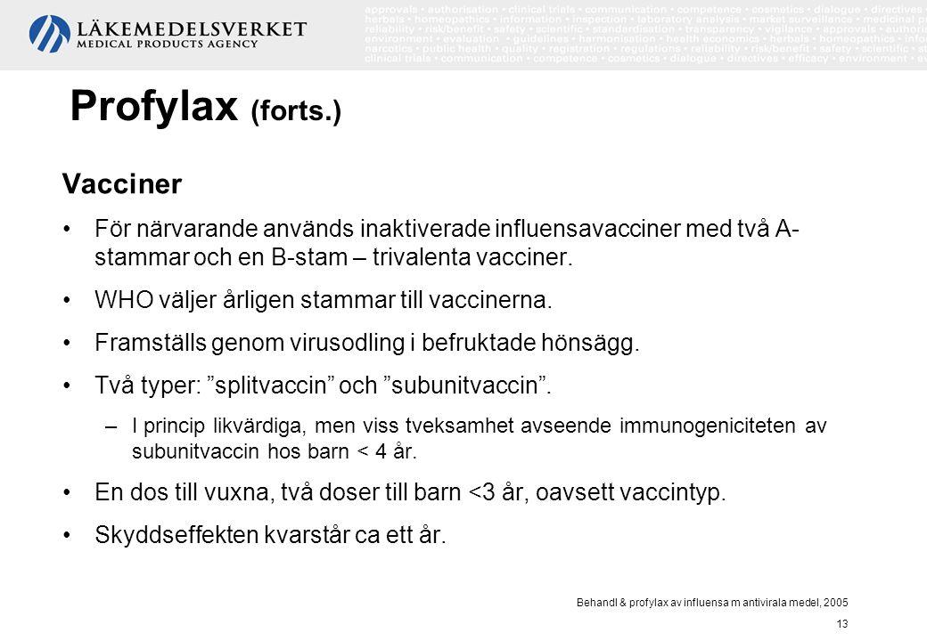 Behandl & profylax av influensa m antivirala medel, 2005 13 Profylax (forts.) Vacciner För närvarande används inaktiverade influensavacciner med två A
