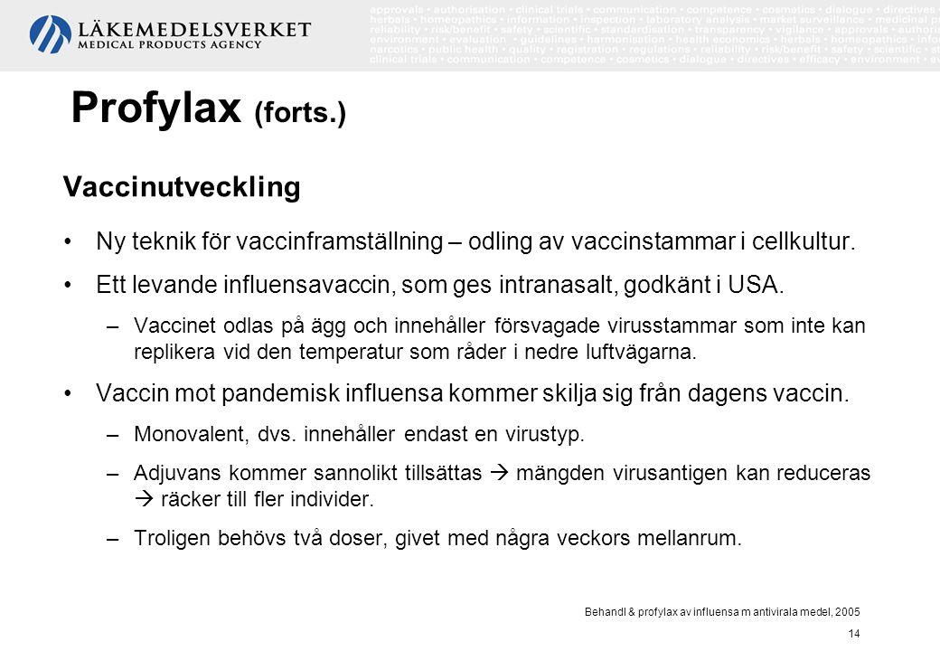 Behandl & profylax av influensa m antivirala medel, 2005 14 Profylax (forts.) Vaccinutveckling Ny teknik för vaccinframställning – odling av vaccinsta