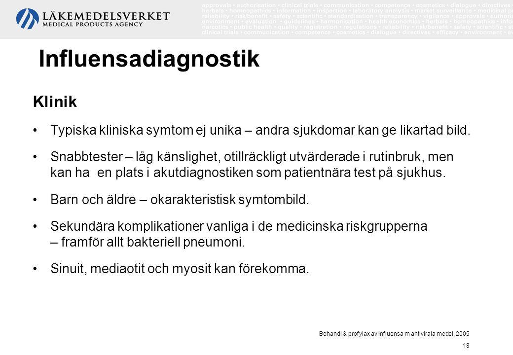 Behandl & profylax av influensa m antivirala medel, 2005 18 Influensadiagnostik Klinik Typiska kliniska symtom ej unika – andra sjukdomar kan ge likar