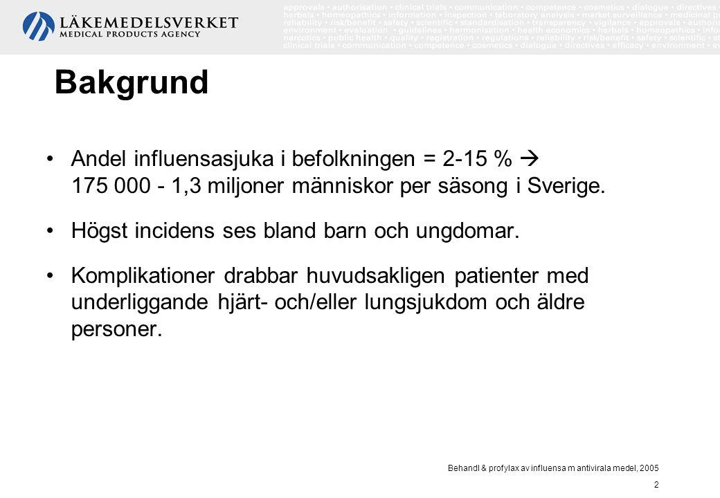 Behandl & profylax av influensa m antivirala medel, 2005 2 Bakgrund Andel influensasjuka i befolkningen = 2-15 %  175 000 - 1,3 miljoner människor pe