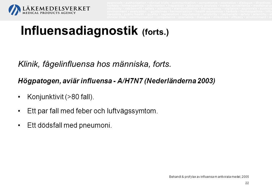 Behandl & profylax av influensa m antivirala medel, 2005 22 Influensadiagnostik (forts.) Klinik, fågelinfluensa hos människa, forts. Högpatogen, aviär