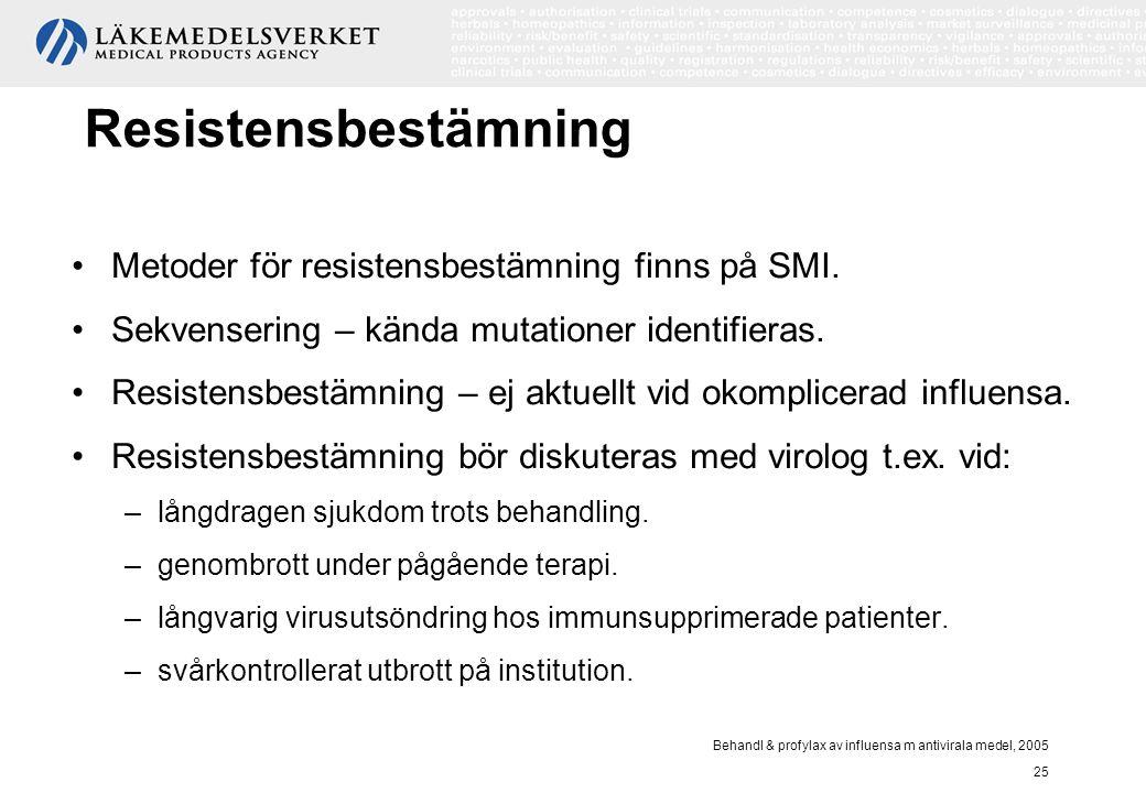 Behandl & profylax av influensa m antivirala medel, 2005 25 Resistensbestämning Metoder för resistensbestämning finns på SMI. Sekvensering – kända mut