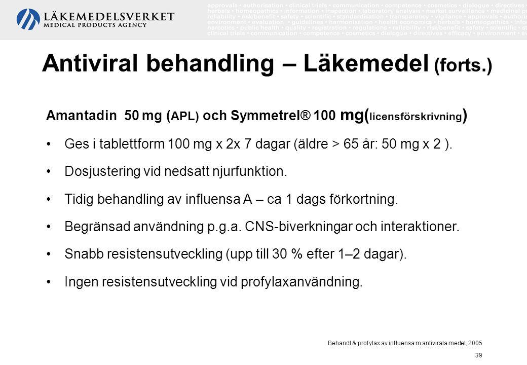 Behandl & profylax av influensa m antivirala medel, 2005 39 Antiviral behandling – Läkemedel (forts.) Amantadin 50 mg ( APL) och Symmetrel® 100 mg( li