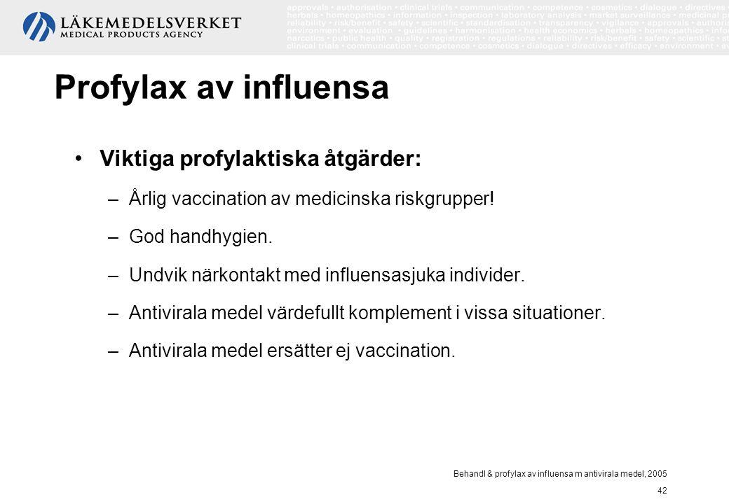 Behandl & profylax av influensa m antivirala medel, 2005 42 Profylax av influensa Viktiga profylaktiska åtgärder: –Årlig vaccination av medicinska ris