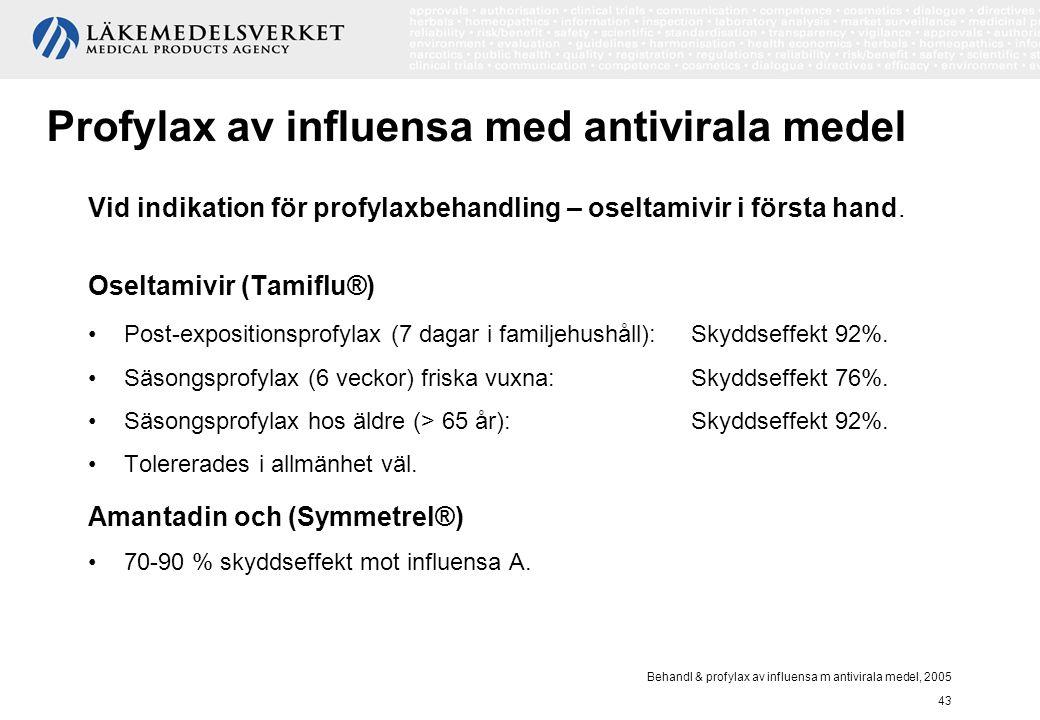 Behandl & profylax av influensa m antivirala medel, 2005 43 Profylax av influensa med antivirala medel Vid indikation för profylaxbehandling – oseltam
